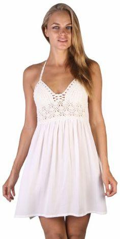 Womens Empire Waist Short Dress With Cotton Crochet Halter Top. Intricate hand done crochet work flatters the upper body Comfortable elasticized empire waist gives a slimming effect