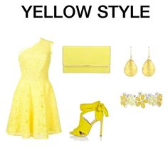 """Yellow DRESS style"" by mimidress on Polyvore featuring mode, Monique Lhuillier, Henri Bendel, River Island, Liz Claiborne, Color, dress et Glamour"