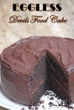 Super moist and decadent devils food cake which not only looks spectacular, but taste so amazingly delicious. Each mouthful is a path to heaven. Eggless Chocolate Cake, Eggless Desserts, Amazing Chocolate Cake Recipe, Eggless Recipes, Eggless Baking, Best Chocolate Cake, Chocolate Flavors, Chocolate Recipes, Recipe For Eggless Cake