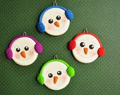 Clay Snowball Christmas Ornaments--Set of Four Snowmen. $32.00, via Etsy.