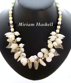 Vintage Miriam Haskell White Glass & Lucite Necklace - available at The Vintage Jewelry Boutique on Ruby Lane