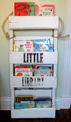 Amazon.com: Wooden Bookshelf Kids Wood Bookshelves Book Shelf Children's Bookcase Recycled Pallet: Furniture & Decor
