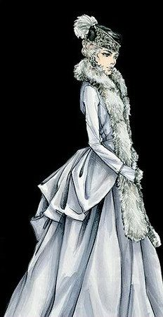 """Jacqueline Durran's sketch for the Ice Rink outfit - """"Anna Karenina"""" (2012)"""