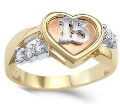 Heart Quinceanera Ring CZ 14k Yellow Gold 15 Birthday Cubic Zirconia, Size 9