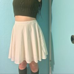 Chiffon Skirt Off white colored skirt made of chiffon like material with a silky slip underneath so it isn't see through, purchased at Franchesca's Collections, no size tag but would best fit a 25/26 waist, model is 5'1 and 25/26 waist, worn a handful of times and in very good condition besides some very faint unnoticeable spots of discoloration (pictured), can provide measurements or more photos upon request ⭐️ open to trades ⭐️ offers accepted ⭐️ cheaper thru other sites just ask ⭐️…