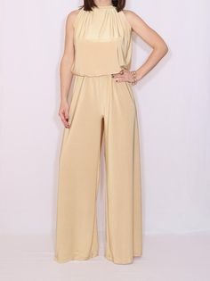 f3c3a2f36a Wide leg golden jumpsuit Halter jumpsuit Women jumpsuit Party dress Gold  Jumpsuit