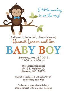 Monkey baby shower invitation chevron pattern by rosettedesigns monkey baby shower invitations baby shower invitation with monkey bow tie monkey digital printable file via etsy filmwisefo