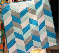 Blue and Gray Herringbone Quilt from the Crafty Cupboard