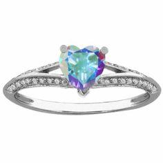 Amazon.com: 0.99 Ct Heart Shape Mercury Mist Mystic Topaz 925 Sterling Silver Ring: Jewelry