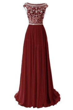9bcb5db93ae1 Chiffon Beaded Long Prom Dress With Cap Sleeves , Long Wedding Party Dress  PDS0139
