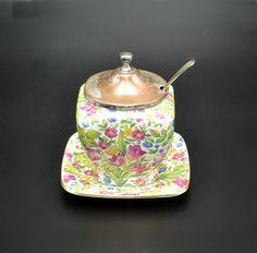 Royal Winton Grimwades Jam Jar With Underplate, Chintz Springtime Wood Owls, Jelly Jars, Jam Jar, Cream And Sugar, Jar Lids, Vintage Wood, Art Deco Fashion, Spring Time, Silver Plate