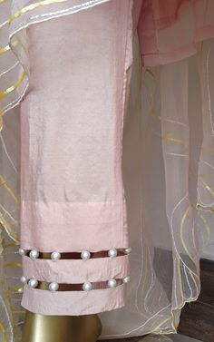 Powder Pink Sequin Work Kurta Set with Organza Dupatta - LabelKanupriya Kurti Sleeves Design, Sleeves Designs For Dresses, Neck Designs For Suits, Dress Neck Designs, Sleeve Designs, Salwar Neck Designs, Kurta Neck Design, Kurta Designs Women, Kaftan Designs