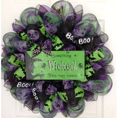 Dollar Tree Halloween, Halloween Witch Wreath, Halloween Mesh Wreaths, Holiday Wreaths, Winter Wreaths, Spring Wreaths, Summer Wreath, Halloween Crafts, Fall Ribbon Wreath