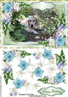 Golden Retriever Dog In the Flowers Decoupage