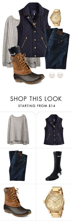 Preppy fall duck boots outfit by libbyp16 on Polyvore featuring Joules, DL1961 Premium Denim, Sperry Top-Sider, Nixon, Tiffany & Co. and NIKE