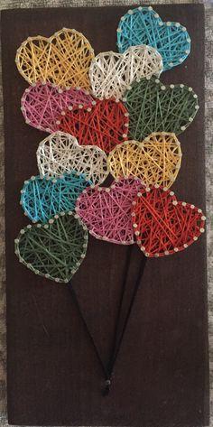 balloons hearts custom string art