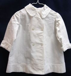Vintage girls dressy white coat size 12 mo. glass buttons - Mother of Pearl?