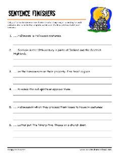 grade 4 halloween worksheet halloween vocabulary finish the sentences - 3rd Grade Halloween Worksheets