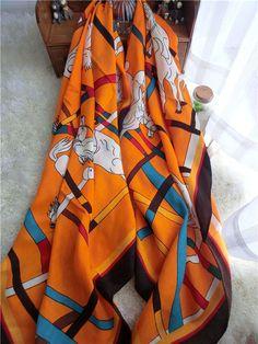 Morpheus Boutique  - Orange Hourse Cotton Designer Shawl Long Scarf Wrap