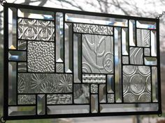 :: Study in Clears :: Stained Glass Window Panel | eBay