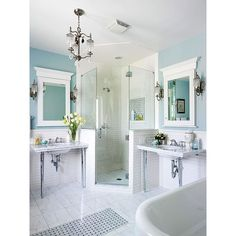 Absolutely stunning bathrooms ❤ liked on Polyvore featuring house, bathroom and home