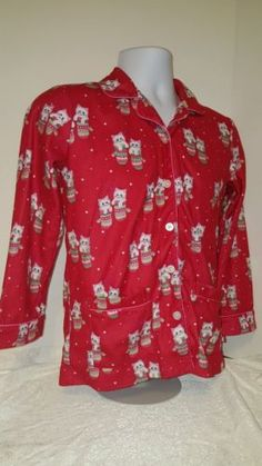 13f0e1c2d8 Girl s Large 10-12 Red Nick and Nora s Kittens in Mittens Fleece PJ Top  Holiday