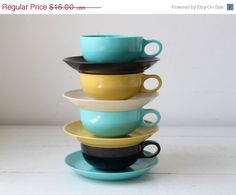 Love these vintage 1950s melmac cups and saucers by Luncheonettevintage, $12.00.