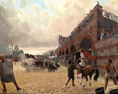 This is your rare chance to see just what Roman Colchester looked like Roman Chariot, Roman Britain, Romantic Scenes, Epic Story, Prehistory, Ancient Rome, Romans, Contemporary Artists, Medieval
