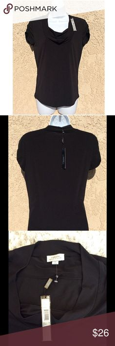 Tahari by Arthur S. Levine Cowl Neck top Material is a polyspandex blend so it has lots of stretch. Size is small.  Color is black.  On sale now at site as shown for $49.  New with tags. Dry clean only Tahari Tops