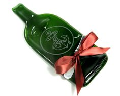 Anchor Etched Melted Wine Bottle Cheese Tray by MitchellGlassworks, $29.99