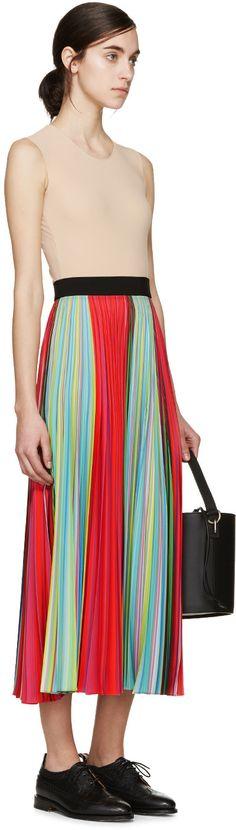 Mary Katrantzou - Multicolored Striped Pleated Skirt