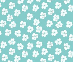 WhiteLilliesOn Turquoise fabric by maredesigns on Spoonflower - custom fabric