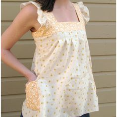Cute top.  http://sewmamasew.com/blog2/2009/04/spring-sewing-spring-ruffle-top-tutorial/