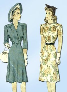 1940s Vintage Misses WWII Dress 1942 McCall VTG Sewing Pattern 4692 Size 16 #McCallPattern #DressPattern