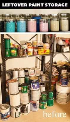 An organized life ~ store all leftover paint in mason jars – Garage Organization DIY Garage Organization, Garage Storage, Craft Storage, Storage Ideas, Workshop Organization, Shop Storage, Workshop Ideas, Organization Ideas, Garage Paint