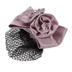 FOREVER YUNG White Burgundy Stripe Print Flower Decor Barrette Hair Clip for Lady *** Continue to the product at the image link.
