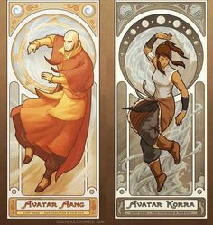 """Avatars Aang and Korra: These Are The Amazing Art Nouveau """"Legend Of Korra"""" Prints You've Been Waiting For Avatar Legend Of Aang, Korra Avatar, Team Avatar, Legend Of Korra, Avatar Cartoon, Avatar Series, Avatar The Last Airbender Art, Amazing Art, Awesome"""