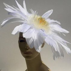 White Ivory Feather Flower Fascinator Mini Hat Cocktail Fun