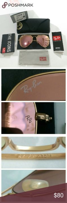 Authentic Rose gold Ray Ban aviator AUTHENTIC  100% Firm on price  Brand new in box Made in Italy  Serial number 112/z2 (barcode shown) Size 58mm  Lens color --- Rose gold (real glass lens for better vision) Matte gold frame  Comes with box, case, cleaning cloth and booklet Fast shipping (will ship same day if purchased before  1pm) with 2-3 days priority mail  Trusted seller!!! Ray-Ban Accessories Glasses