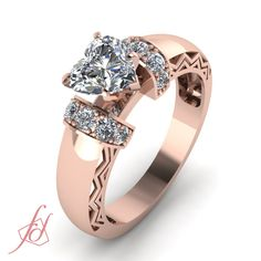 Heart Shaped and Round Diamond 14K Rose Gold Side Stone Engagement Ring in Pave Setting || ZigZag Design Ring