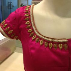 Best 10 Best types of blouse designs for every woman – ArtsyCraftsyDad – SkillOfKing. Traditional Blouse Designs, Simple Blouse Designs, Blouse Designs Silk, Designer Blouse Patterns, Embroidery Neck Designs, Aari Embroidery, Embroidery Works, Embroidery Kits, Wedding Saree Blouse Designs