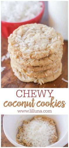 Mini Desserts, Coconut Desserts, Coconut Recipes, Delicious Desserts, Quick Cookies, Yummy Cookies, Cake Cookies, Basic Cookies, Oatmeal Coconut Cookies