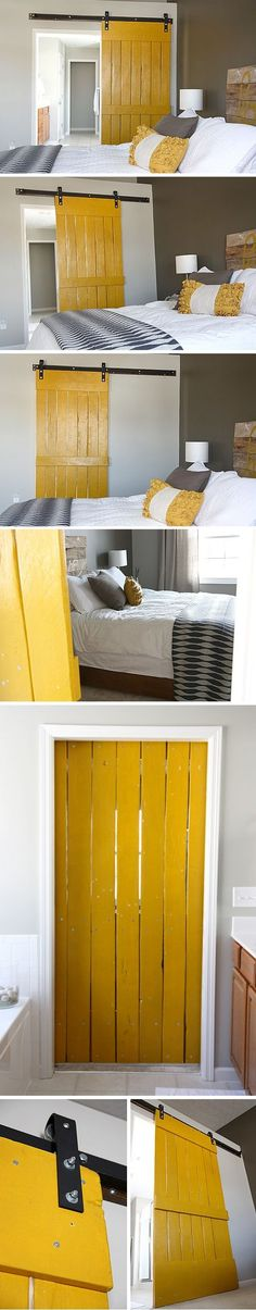 DIY sliding door - LOVE - esp that it is YELLOW / For the Home