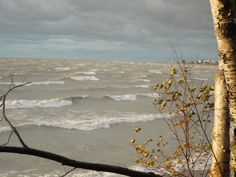 Waves crashing in to shore on a stormy Fall day near Goderich on Lake Huron.
