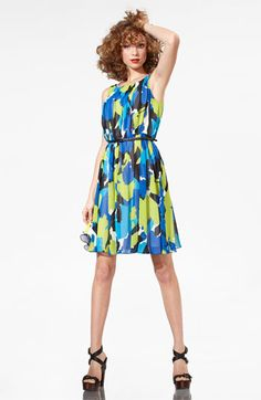 Vince Camuto Belted Pleat Front Dress
