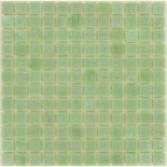 Light Sea Foam- Green 1'' x 1'' Glass Glossy Tile @ GTO