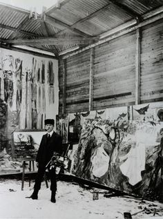 Edvard Munch in his studio.  (looks like snow on ground)