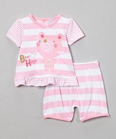 Another great find on #zulily! Zip Zap Pink Stripe Teddy Bear Tee & Shorts - Infant by Zip Zap #zulilyfinds