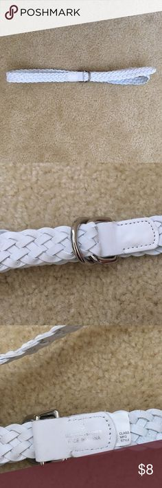 Express White Skinny Braided Belt Gently used. Braided style. Silver double buckle. Genuine leather Express Accessories Belts