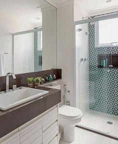 Ladrilho estampado e granito marrom absoluto #homedecor #banheiro